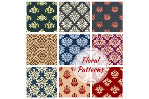 Floral pattern set, flowery vector damask ornament
