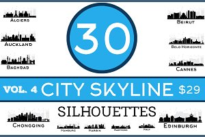 30 City Skyline Silhouettes Set 4