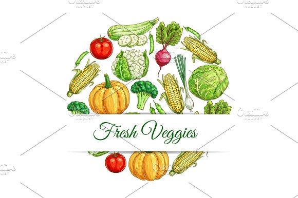 Fresh Veggies Poster Of Vegetables Harvest Sketch
