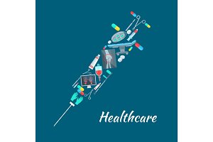 Healthcare surgery medical poster, syringe symbol