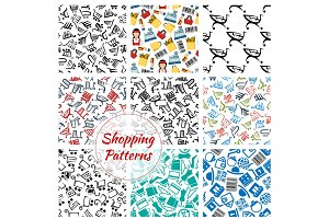 Shopping retail seamless vector patterns set