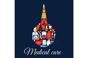 Medical care poster of enema syringe vector symbol