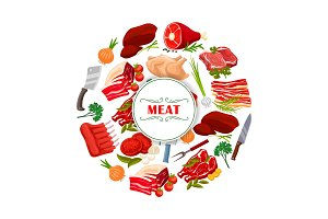 Butcher shop meat or butchery vector poster