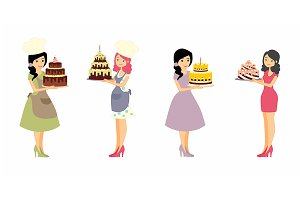 Set of female characters with a cake