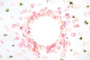 Frame of roses petals