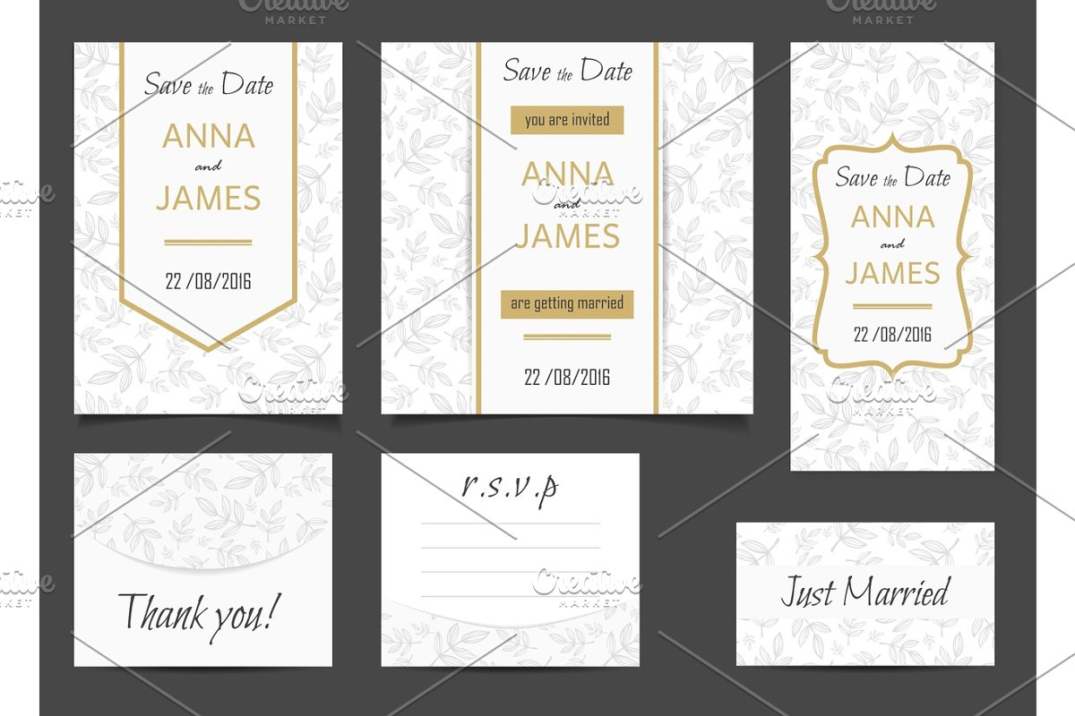 Beautiful Wedding Set Of Printed Materials With A Abstract Design Wedding Invitation Card Save The Date Cards R S V P And Thank You Card