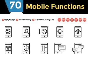 Mobile Function Line Icons