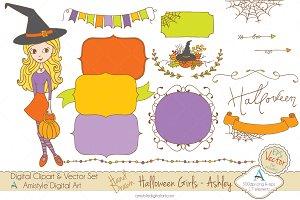 Halloween Girl-Ashley-Clipart&Vector