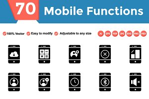 Mobile Function Glyphs Icons
