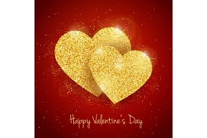Vector Happy Valentine's Day greeting card with sparkling glitter gold textured 2  hearts on red background