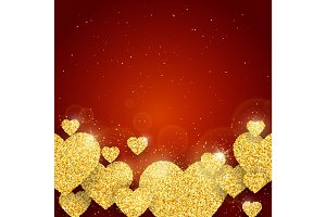 Vector Happy Valentine's Day greeting card with sparkling glitter gold textured hearts on red background