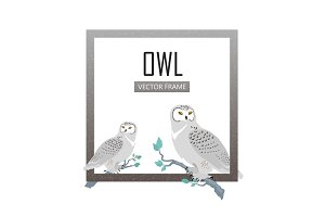 Snowy Owls Flat Design Vector Illustration
