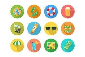 Set of Vector Summer Icons in Flat Design