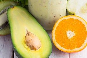 apple smoothies,orange,salad