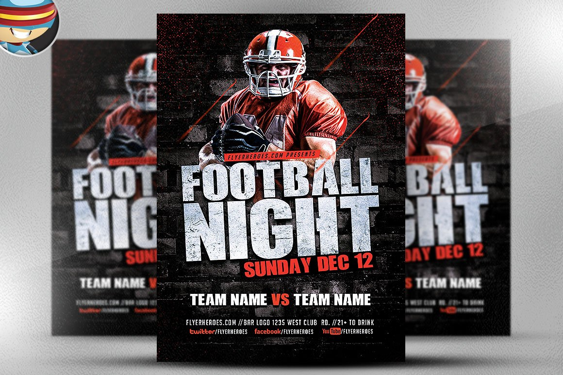 football night flyer template flyer templates creative market. Black Bedroom Furniture Sets. Home Design Ideas