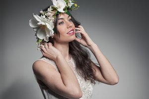 Woman posing with flower crown