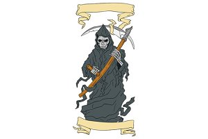 Grim Reaper Scythe Scroll Drawing