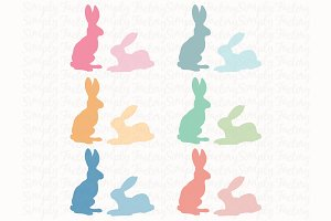 Easter Bunny Silhouette Set