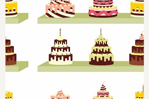 Seamless pattern with tasty cakes