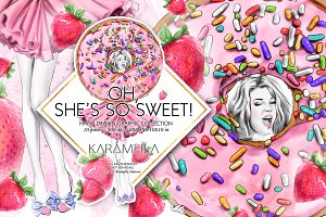 Donuts Strawberries Fashion Clipart