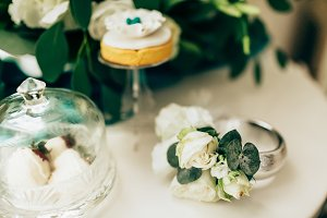 Romantic flowers and cake on table