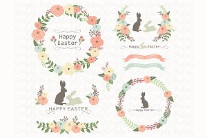 Easter Floral Wreath Set