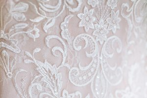 White Wedding dress close-up