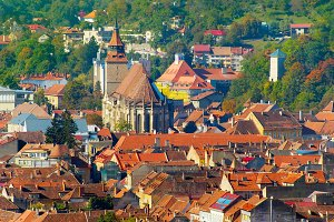 Brasov Old Town skyline. Romania