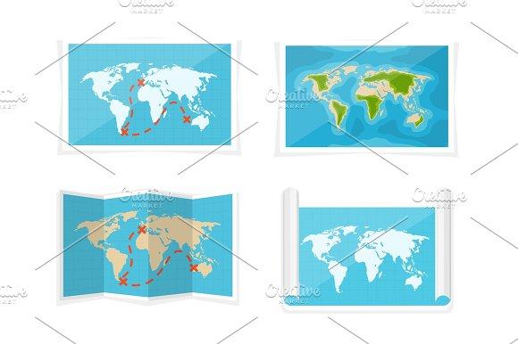 World Map Vector Illustration Navigation Africa Antarctica Australia Eurasia North America