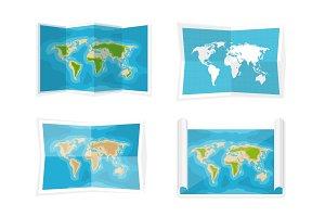 World map. Vector illustration. Navigation. Africa, Antarctica, Australia, Eurasia, North America.