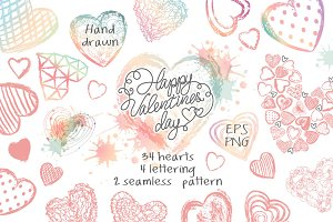 Love set Hand drawn hearts lettering