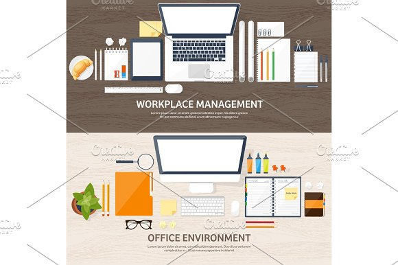 Workplace With Table And Computer Laptop Documents Papers Notepad Pencil Paperwork Office Work Job Workspace Management Creative Design