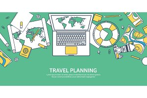 Travel and tourism. Flat style. World, earth map. Globe. Trip, tour, journey, summer holidays. Travelling,exploring worldwide. Adventure,expedition. Table, workplace. Traveler. Navigation or route planning. Lined.Lines