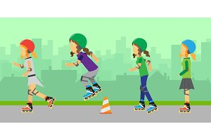 Group of Roller Skating