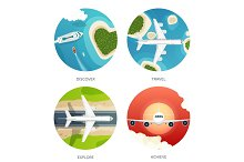 Vector illustration. Travel and tourism. Airplane, aviation. Summer holidays, vacation. Plane landing. Flight, air travelling.  Sky, aerial, tropical background. Journey.  Island, sea, boats.