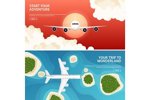 Vector illustration. Travel and tourism. Airplane, aviation. Summer holidays, vacation. Plane landing. Flight, air travelling.  Sky, aerial background. Journey.
