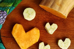 cut pumpkin and courgette in heart for