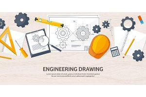 Vector illustration. Engineering and architecture. Drawing, construction.  Architectural project. Design, sketching. Workspace with tools. Planning, building. Wooden background.