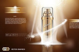 Vector golden bottle spray mockup