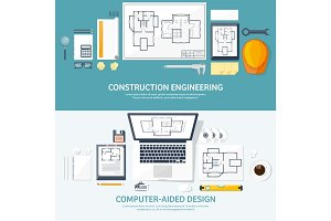 Vector illustration. Engineering and architecture. Notebook, computer . Drawing, construction.  Architectural project. Design, sketching. Workspace with tools. Planning, building.