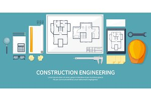 Vector illustration. Engineering and architecture. Drawing, construction.  Architectural project. Design, sketching. Workspace with tools. Planning, building.
