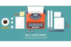 Vector illustration.  Flat typewriter. Tell your story. Author. Blogging.