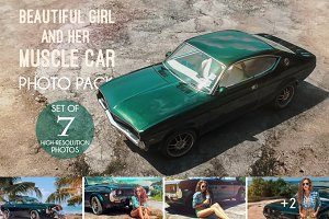 Photo pack Girl with muscle car