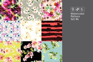 9 watercolor seamless patterns #6