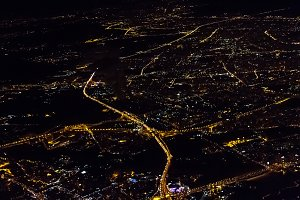 Night Moscow from the plane .