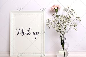 White Frame Flower Mockup. PSD smart