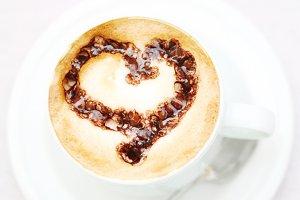 Coffee heart latte