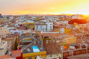 Valencia Old Town panorama. Spain