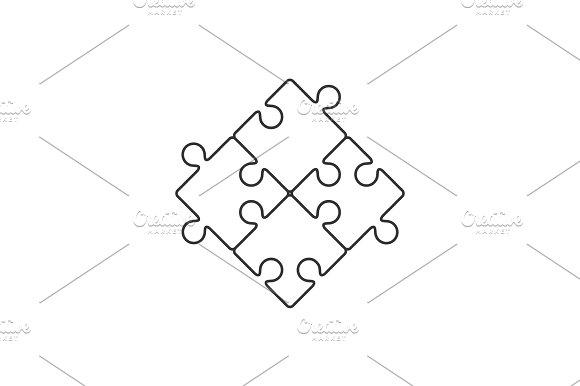Four Piece Puzzle Line Icon