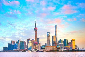 Shanghai skyline at sunset. China
